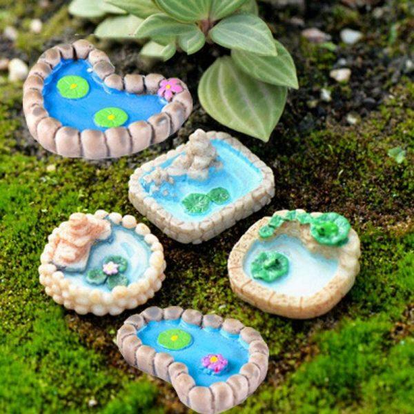 5 Pieces Miniature Fairy Garden Ornaments Kit, Fairy Garden Miniature Pond, Miniature Garden Accessories for Plant Pot, Micro Landscape Decoration (5