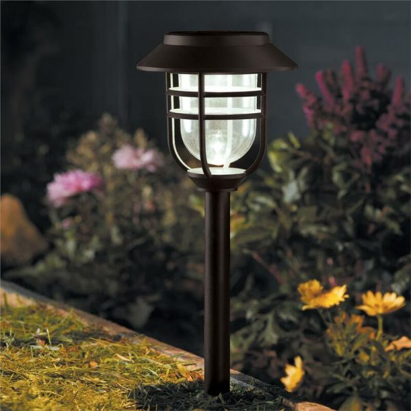 5 x Smart Garden Solar Avant Black Metal Cage Post Pathway Stake Garden Lights