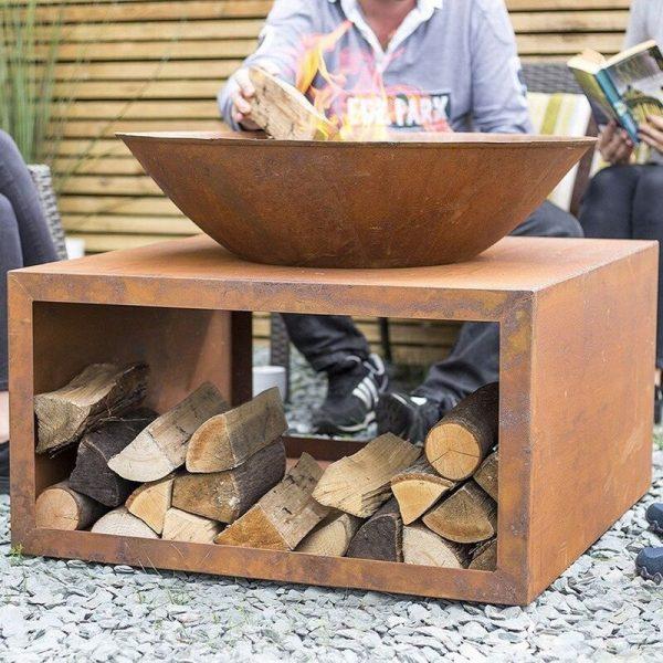 58263 Oxidised Moho Fire Pit Basket Bowl Steel Outdoor Log Store - La Hacienda