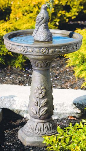 69cm Massarelli Cast Stone Daisy Bird Bath