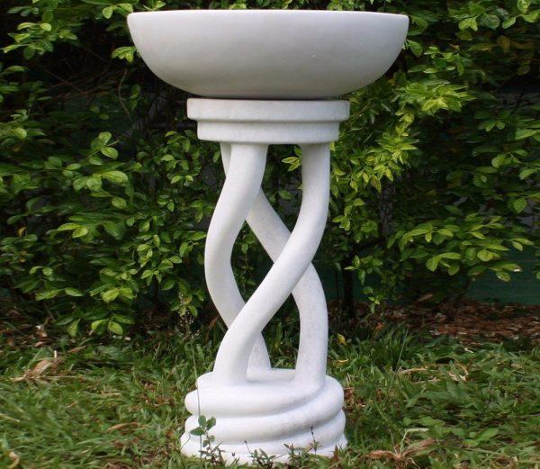 70cm Spiral Bird Bath Marble Garden Statue