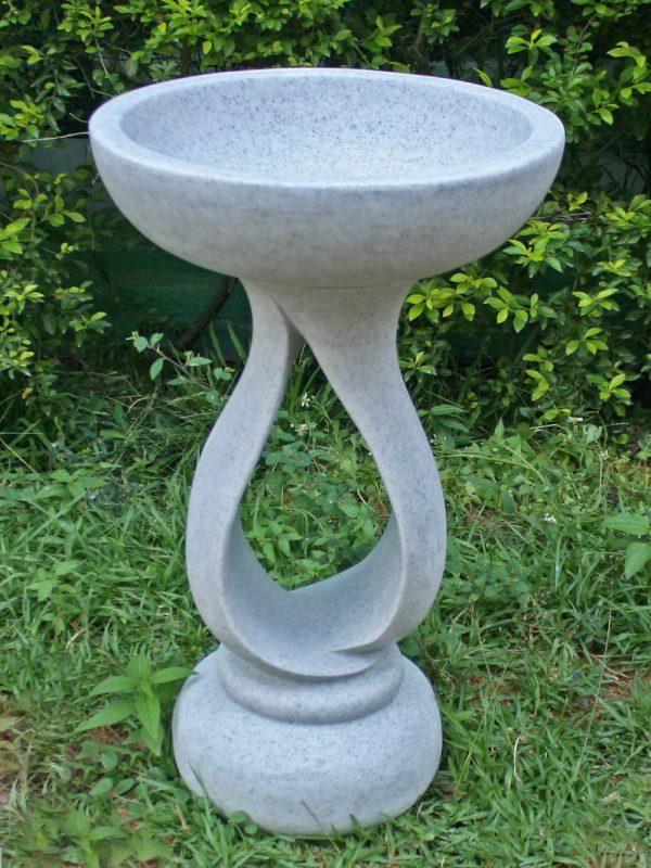 72cm Contemporary Bird Bath Granite Garden Statue