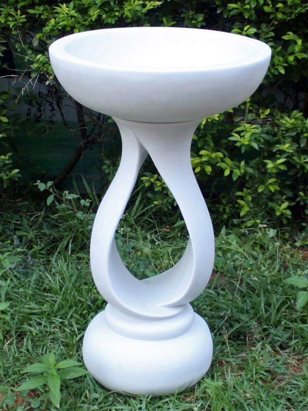 72cm Contemporary Bird Bath Marble Garden Statue