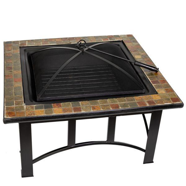 76cm Alexandria Steel and Ceramic Mosaic Square Fire Pit- by La Fiesta