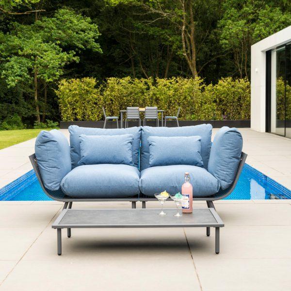 Alexander Rose Beach Flint Aluminium 2 Seater Garden Lounge Set with Blue Cushions