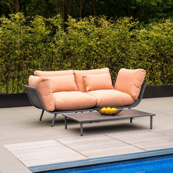 Alexander Rose Beach Flint Aluminium 2 Seater Garden Lounge Set with Peach Cushions