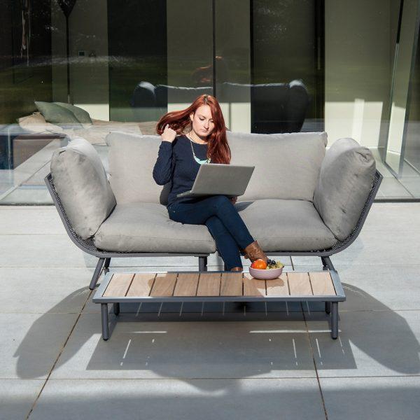 Alexander Rose Beach Flint Aluminium Grey 2 Seater Garden Lounge Set