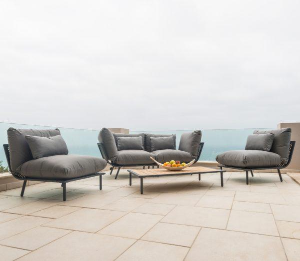 Alexander Rose Beach Flint Aluminium Grey 4 Seater Garden Lounge Set