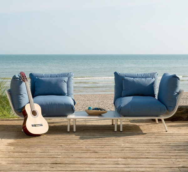 Alexander Rose Beach Shell Aluminium 2 Seater Garden Lounge Set with Blue Cushions