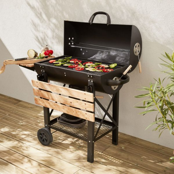 An American-style charcoal barbecue - Serge black - American smoker barbecue with air vents, ash collector, smoker