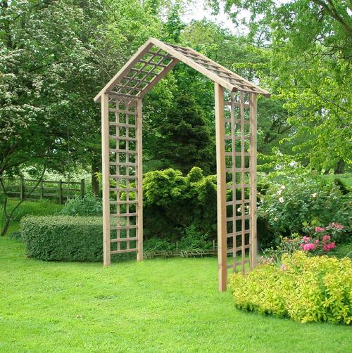 Atlas Wooden Timber Garden Arch with Trellis