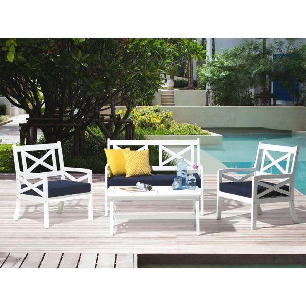 Beliani - Nautical Acacia Garden Patio Set White Sofa Armchairs Table Patio Furniture Baltic