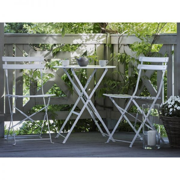 Beliani - Outdoor Patio 3 Piece Bistro Set White Steel Round Table and Chairs Fiori