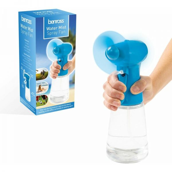 Benross 40239 Water Mist Spray Fan Portable Handheld Battery Operated Ideal for Holidays Sports Office Garden, 400ml, Blue