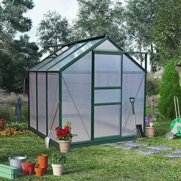BillyOh Rosette Hobby Aluminium Greenhouse - Single Sliding Door - 6 x 6 Green