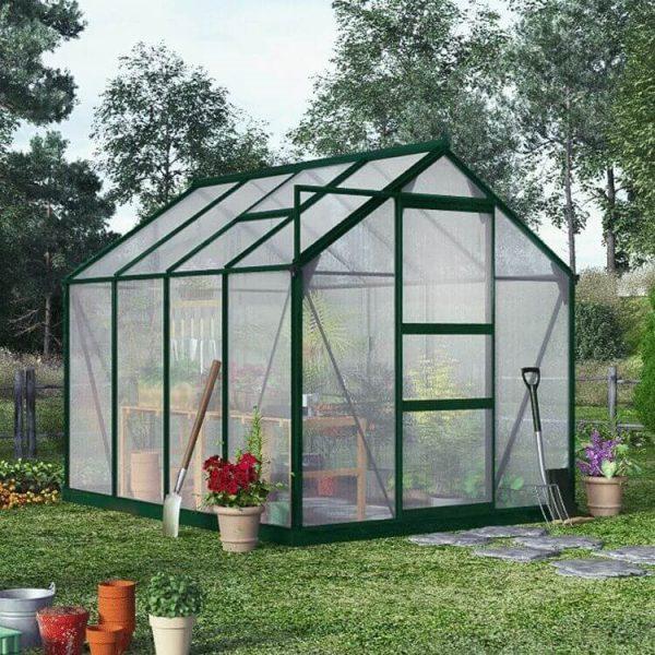 BillyOh Rosette Hobby Aluminium Greenhouse - Single Sliding Door - 8 x 6 Green