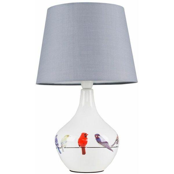 Bird Ceramic Table Lamp Bedside Fabric Shade Light + 6W LED GLS Bulb - Grey