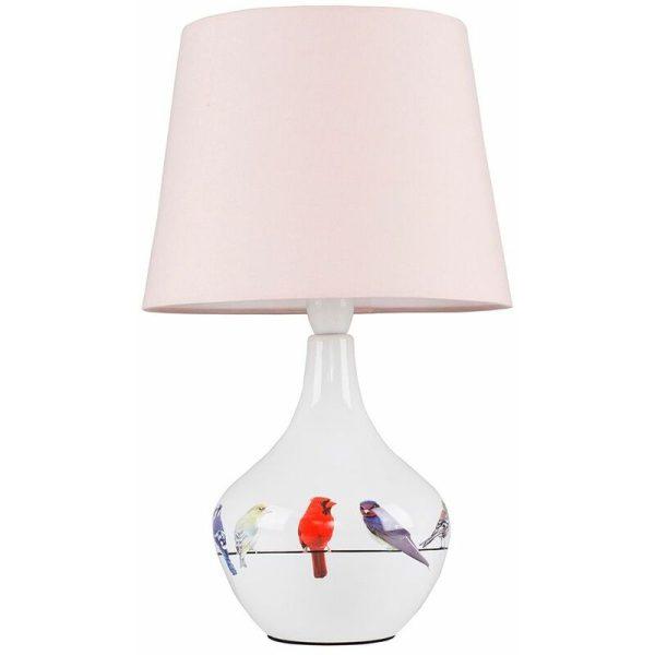 Bird Ceramic Table Lamp Bedside Fabric Shade Light + 6W LED GLS Bulb - Pink
