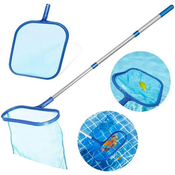 Bottom Scoop Kit for Pool with Aluminum Telescopic Handle, Pool Scoop Cum Netting for Swimming Pool, Ponds, Fountain, & Eacute; Pond, Tank & Water