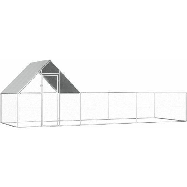 Chicken Coop 6x2x2 m Galvanised Steel