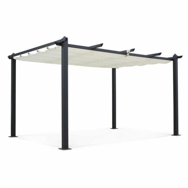 Condate: Aluminium pergola 3x4m with sliding retractable canopy, off-white