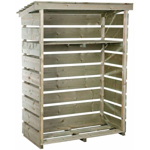 FSC Wooden Garden Small Log Store Heavy Duty Firewood Storage - Natural - Charles Bentley