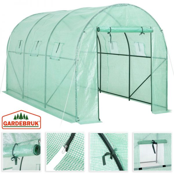 Gardebruk Greenhouse Polytunnel Hot House 23ft² with Windows 11.5x6.5x6.5ft