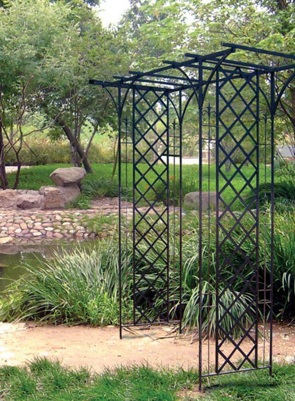 Garden Arch with Lattice in Black