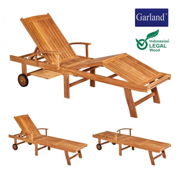 Garden Lounger Breeze Teak Wood Castors Backrest 5-way Adjustable Folding Table Armrests Sun Lounger Outdoor Sun Bed - Garland