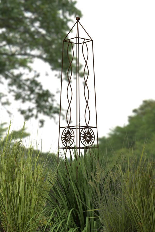 H154cm Metal Aztec Sun Obelisk in Bronze