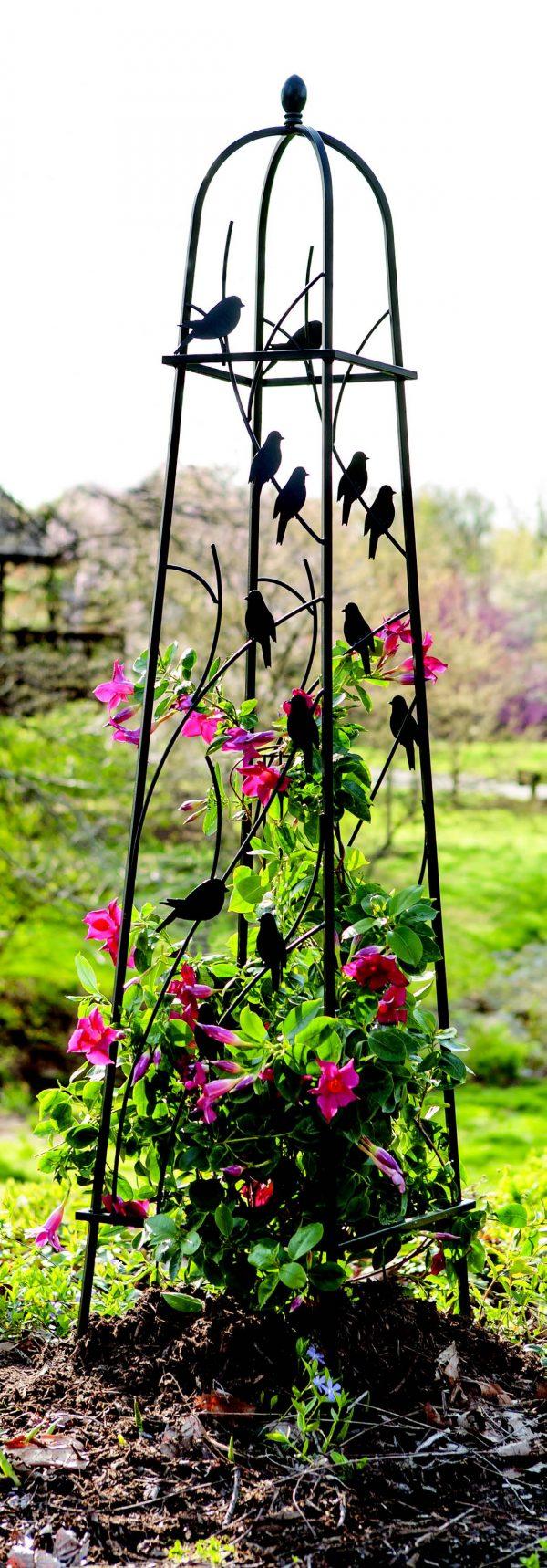 H162cm Perching Birds Obelisk in Black