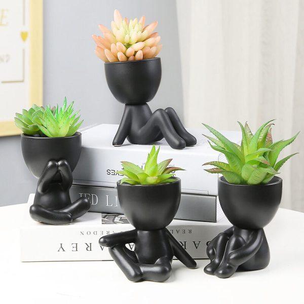 Outdoor Vase Humanoid Flower Flower Pot Dried Garden Decoration Vintage Vase Face Sculpture Cache-Pot Office Home Decor Gift Flowers Creative Vase