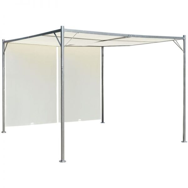 Pergola with Adjustable Roof Steel 3x3 m Cream White - White - Vidaxl