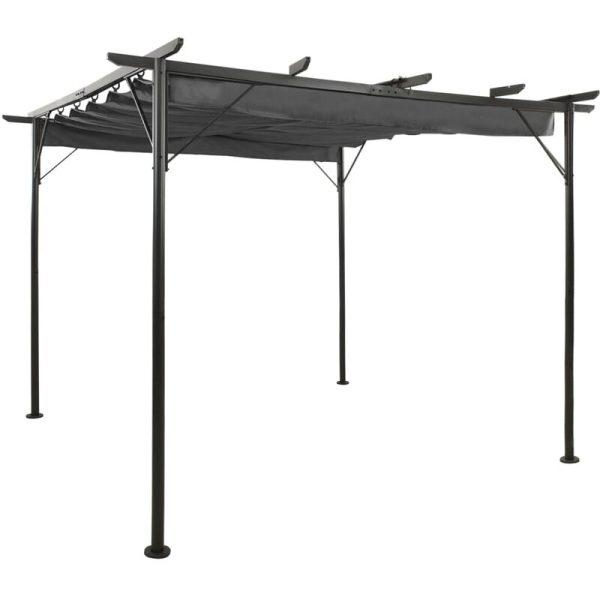 Pergola with Retractable Roof Anthracite 3x3 m Steel 180 g/m² - Anthracite - Vidaxl