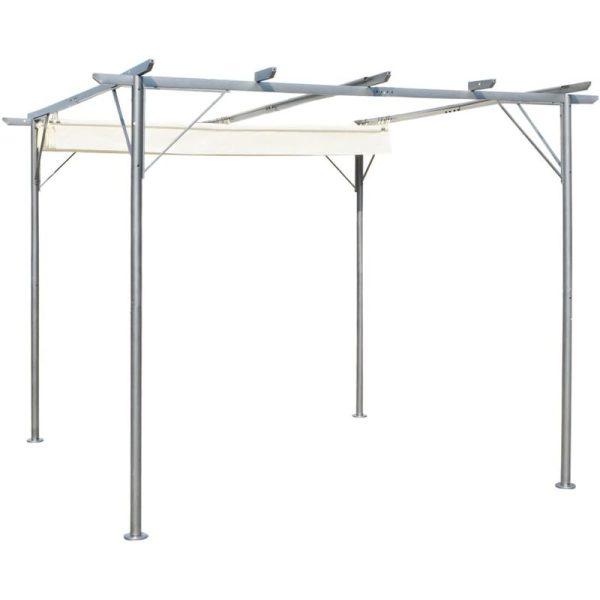 Pergola with Retractable Roof Cream White 3x3 m Steel - Cream - Vidaxl