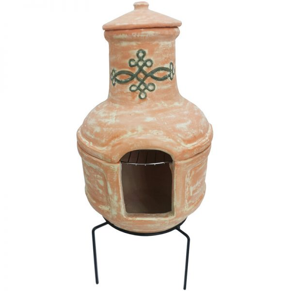 Small Terracotta Clay Chimenea BBQ Grill with Artisan Design - Terracotta - Charles Bentley