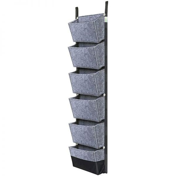 Wall Plantation Bag, 6 Pocket Plant Plant Vertical Garden Exterior Suspended For Balcony Garden Court Office Home Decoration (Gray)