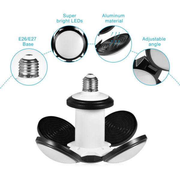 1 Piece LED Garage Lighting Soccer Shape Energy Saving Workshop Lighting 4800LM 60W Deformable Garage Light LLDDE-ZQ0000102 - Hommoo