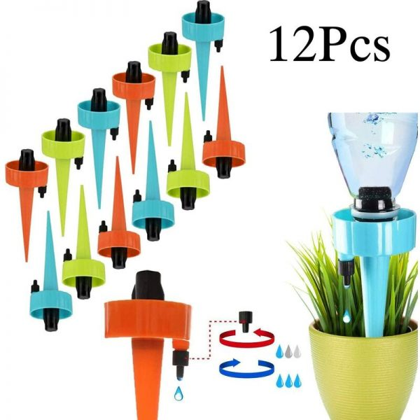 12Pcs Drip Irrigation Kit, Automatic Plant Watering System Drip Irrigation Equipment for Garden Home Indoor Outdoor / Park Flowers