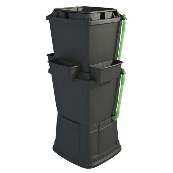 134L Rainwater Terrace Water Butt Planter - 2 Tier - Black