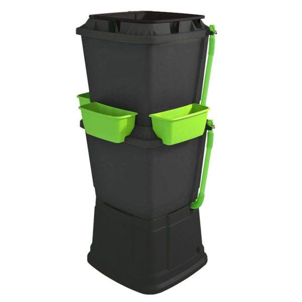 134L Rainwater Terrace Water Butt Planter - 2 Tier - Black & Light Green