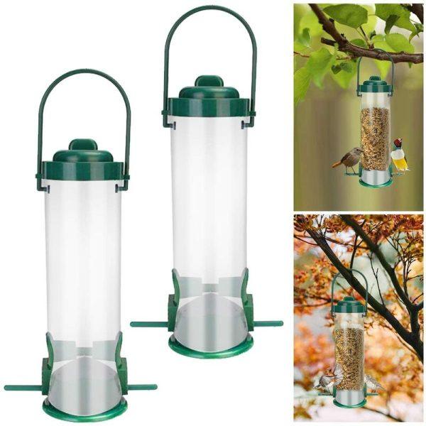 2 Pieces Bird Feeder, Plastic Seed Feeder Wild Bird Feeder Hanging Small Bird Food Dispenser for Outdoor Garden Balcony