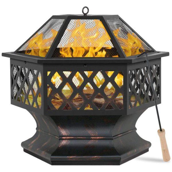 24' Fire Pit Brazier Bowl Garden Hexagonal Log Burner Heater Camping