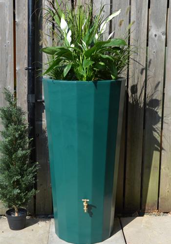 255L Metropolitan Water Butt with Planter in Dark Green