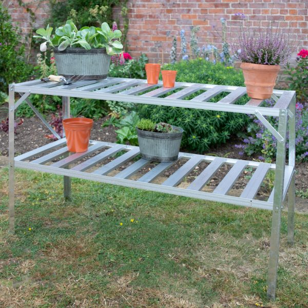 """4' 1"""" Lacewing™ Traditional 2 Tier Greenhouse Staging - Silver"""