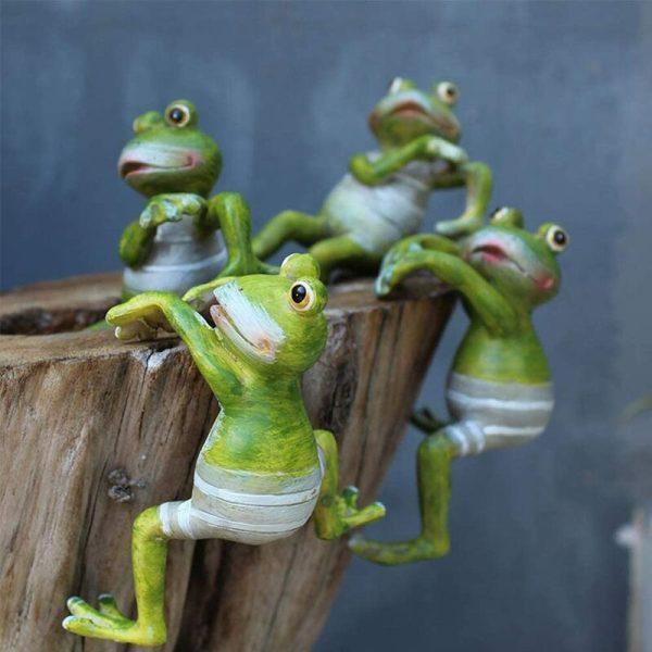 4 Pcs Frog Garden Statues, Flower Pot Pot Pot Decorations, Resin Frog Flower Pot, Outdoor Decor Garden Fairy Ornament For Office Desk Decoration Pot