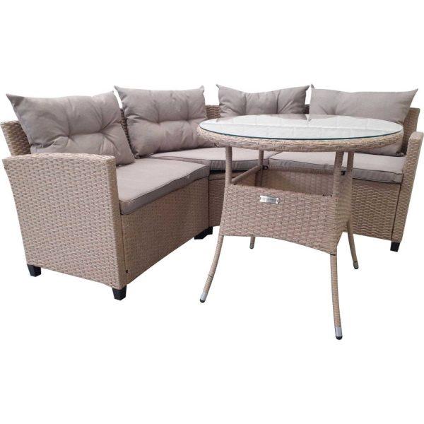 4 Seater Rattan Compact Corner Sofa Garden Dining Set