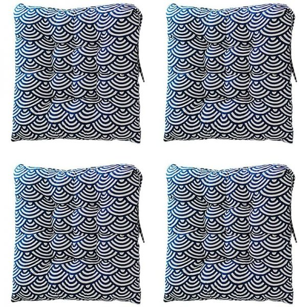 4Pcs Seat Pads, 40 x 40cm Chair Pad Cushions with Straps Soft Tatami Dining Chair Pads for Indoor Outdoor Garden Office Living Room (Wave flower)