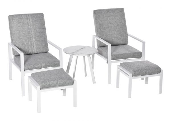 5 Pcs Aluminium Frame Garden Reclining Chair Set Patio Furniture w/ Cushions - Outsunny