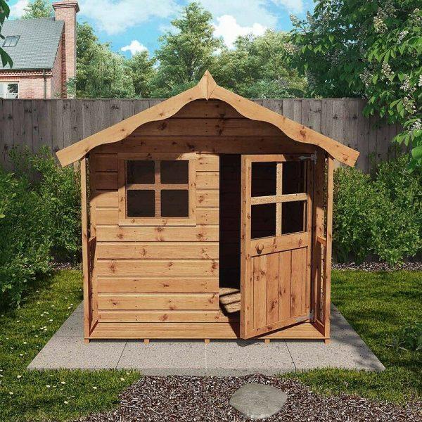5ft x 5ft Honeypot Poppy Apex Wooden Playhouse - Waltons